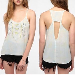 Silence + Noise Yellow/Blue Sheer Studded Tank - L